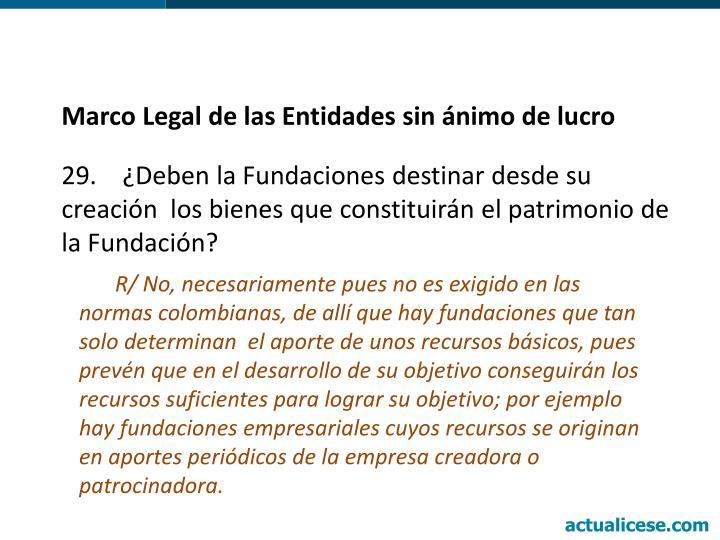 Marco Legal de las Entidades sin ánimo de lucro