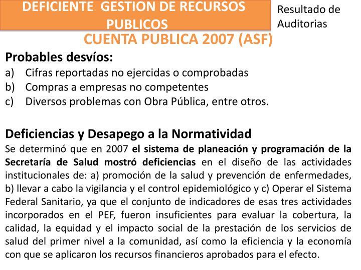 DEFICIENTE  GESTION DE RECURSOS