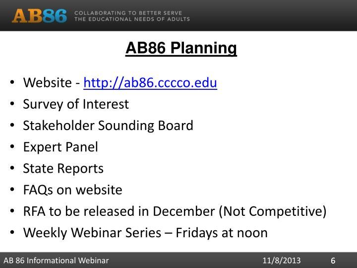 AB86 Planning