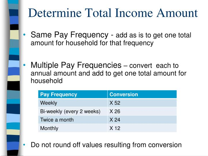 Determine Total Income Amount