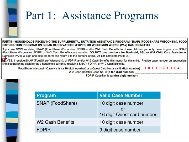 Part 1:  Assistance Programs