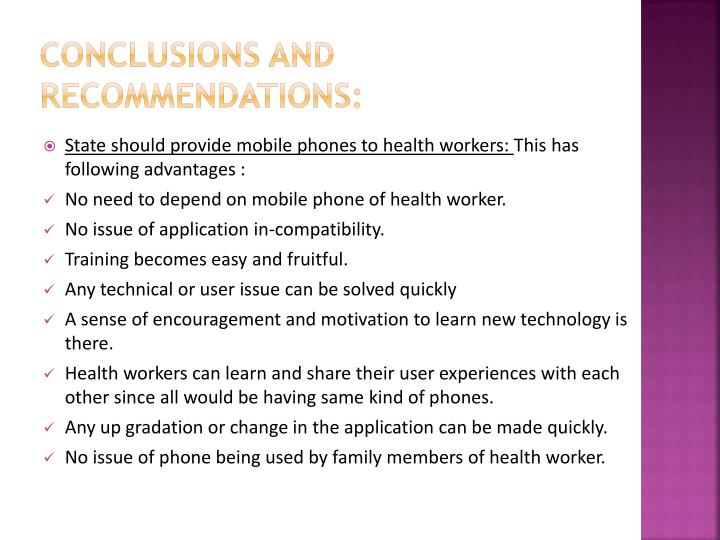 Conclusions and recommendations: