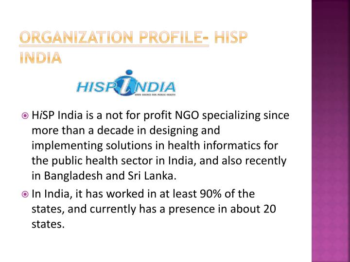 Organization profile hisp india