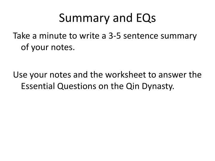 Summary and