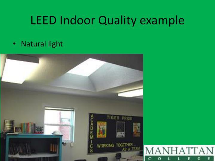 LEED Indoor Quality example