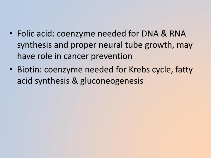 Folic acid: coenzyme needed for DNA & RNA synthesis and proper neural tube growth, may have role in cancer prevention