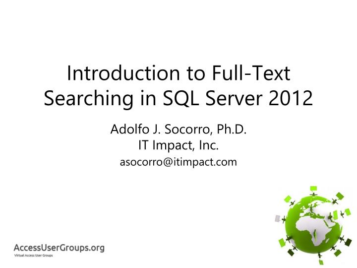 introduction to full text searching in sql server 2012