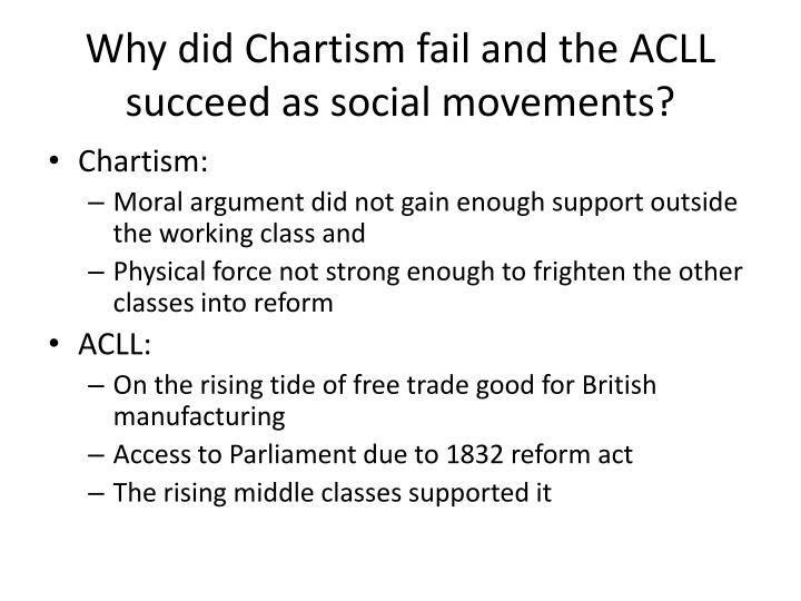 Why did Chartism fail and the ACLL succeed as social movements?