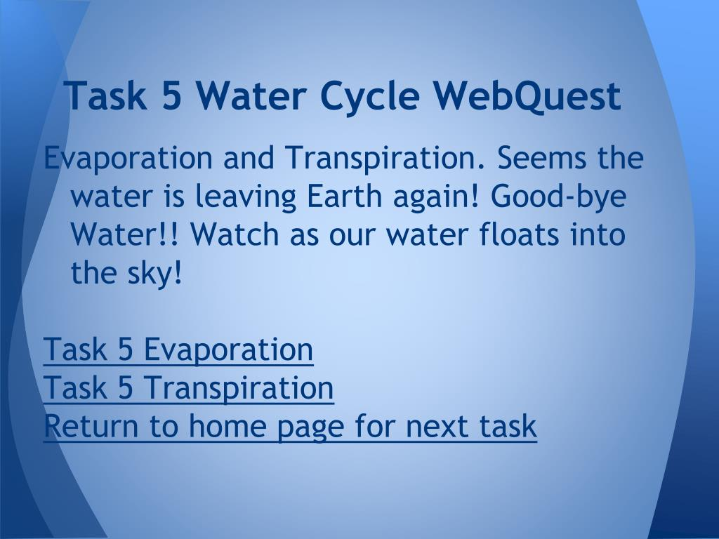 PPT - Water Cycle WebQuest PowerPoint Presentation - ID ...
