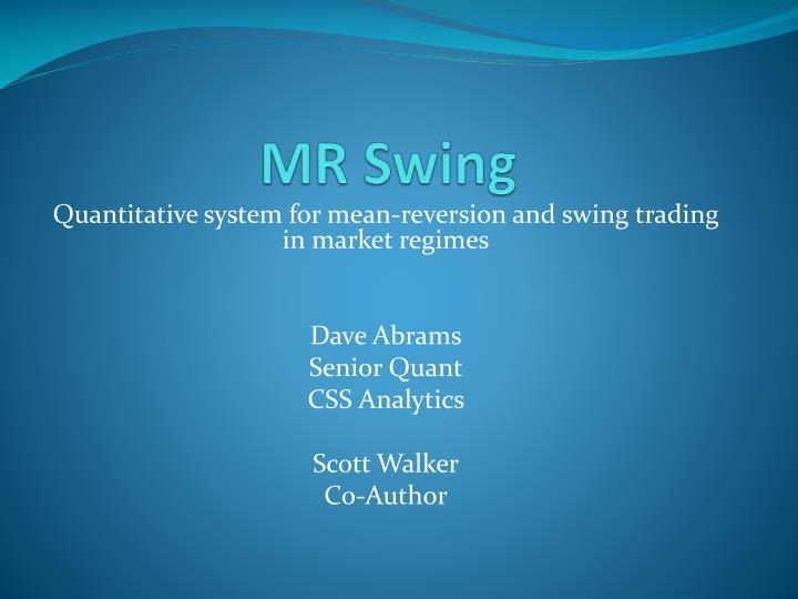 PPT - MR Swing PowerPoint Presentation - ID:2324449