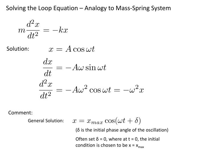 Solving the Loop Equation – Analogy to Mass-Spring System