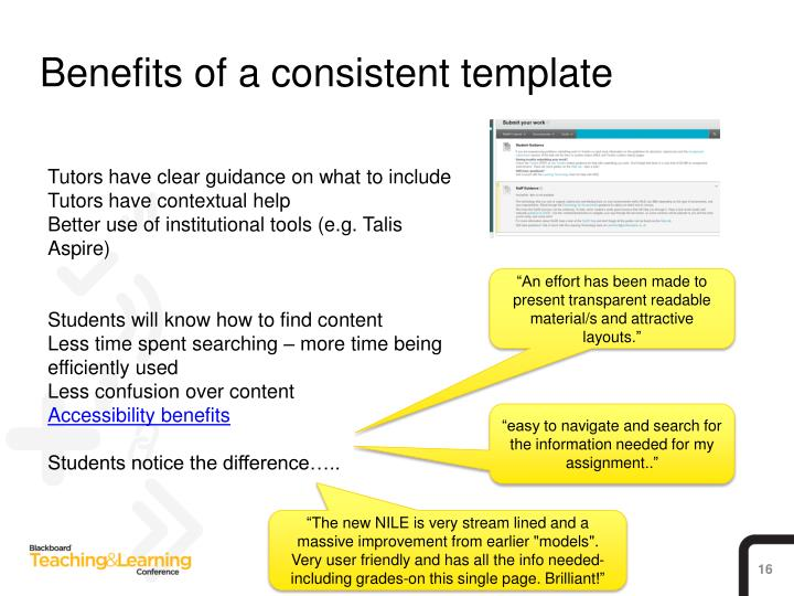 Benefits of a consistent template
