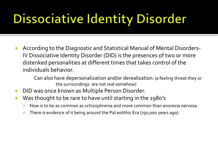 trying to understand dissassociative identity dissorder The international society for the study of trauma and dissociation characterizes dissociative identity disorders (did previously known as multiple personality disorder) by the presence of more.