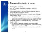 1 ethnographic studies in homes