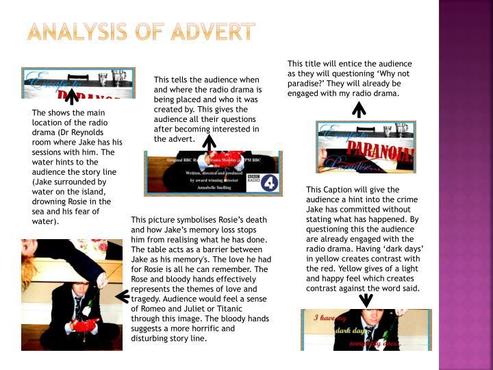 Analysis of advert