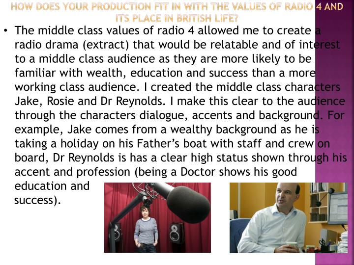 How does your production fit in with the values of radio 4 and its place in British life?