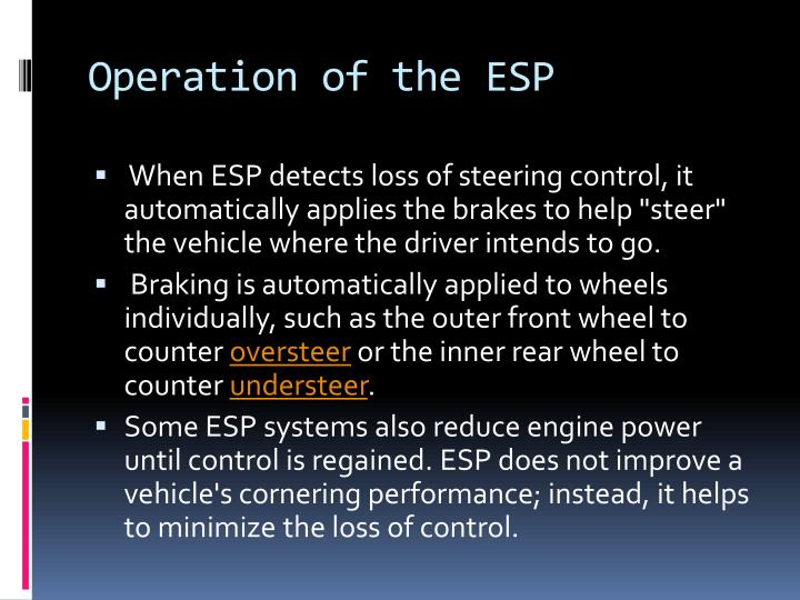 Operation of the esp