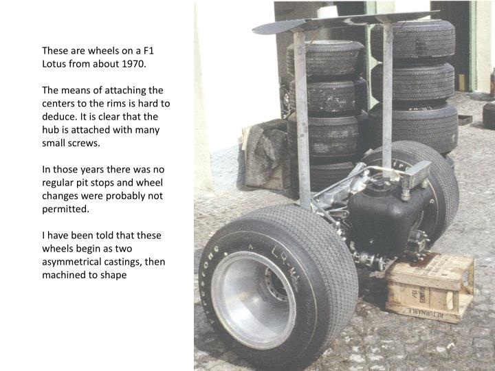 These are wheels on a F1 Lotus from about 1970.