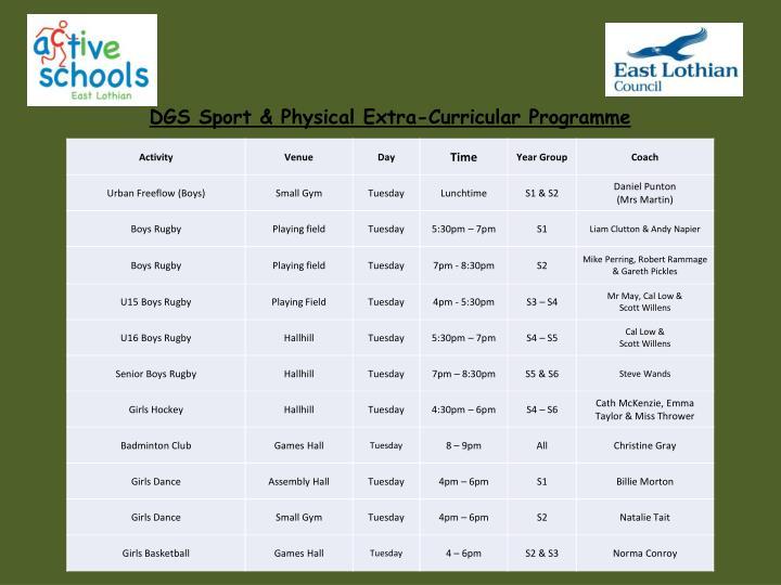 DGS Sport & Physical Extra-Curricular Programme