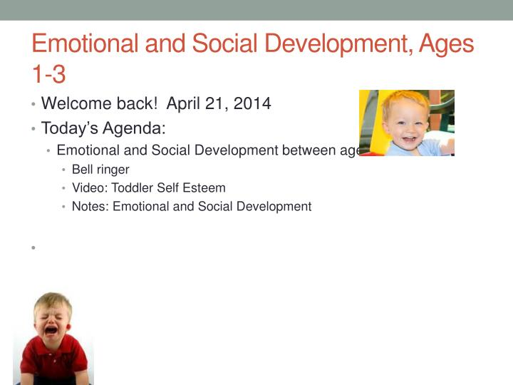 emotional and social development ages 1 3 n.