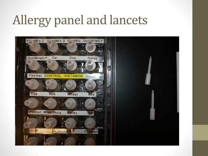 Allergy panel and lancets