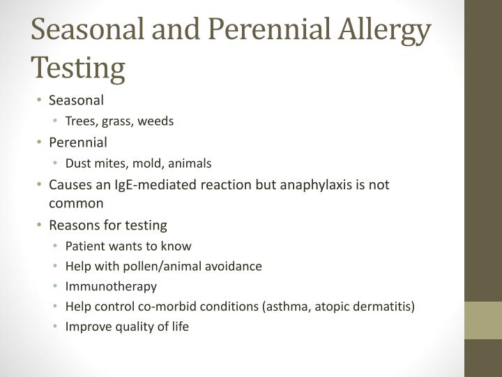 Seasonal and Perennial Allergy Testing