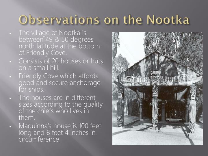 Observations on the Nootka