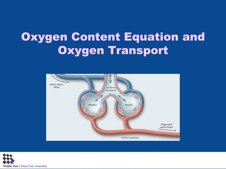 oxygen content equation and oxygen transport n.
