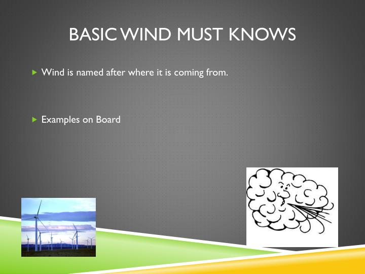 Basic wind must knows