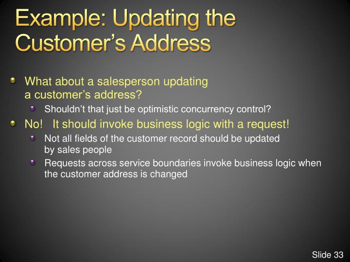 Example: Updating the Customer's Address
