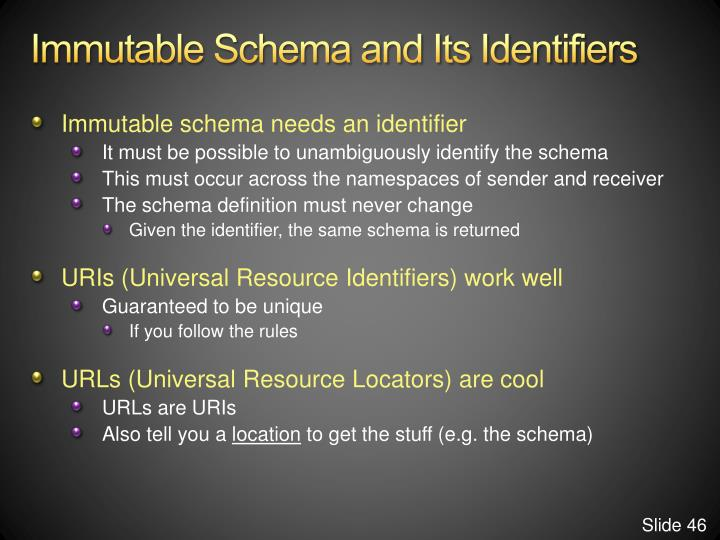 Immutable Schema and Its Identifiers