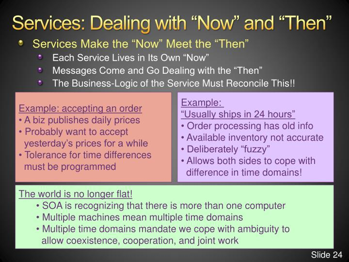 "Services: Dealing with ""Now"" and ""Then"""