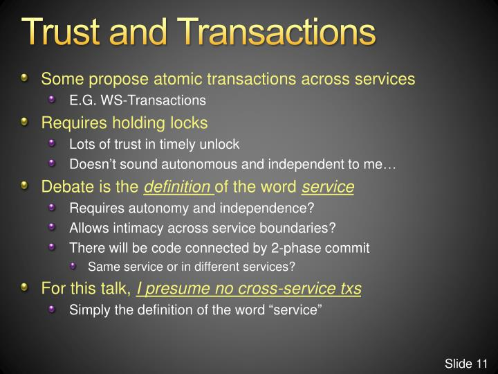 Trust and Transactions