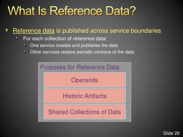 Purposes for Reference Data