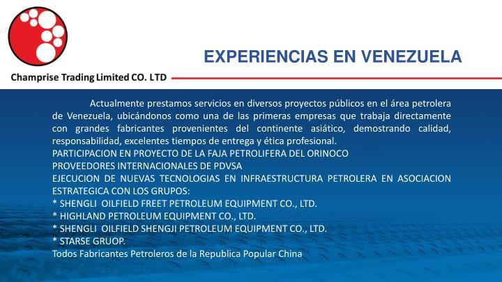 EXPERIENCIAS EN VENEZUELA