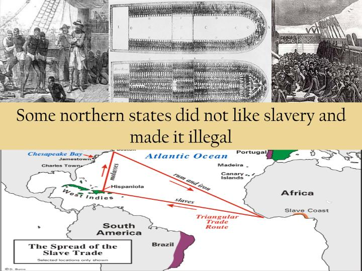 Some northern states did not like slavery and made it illegal