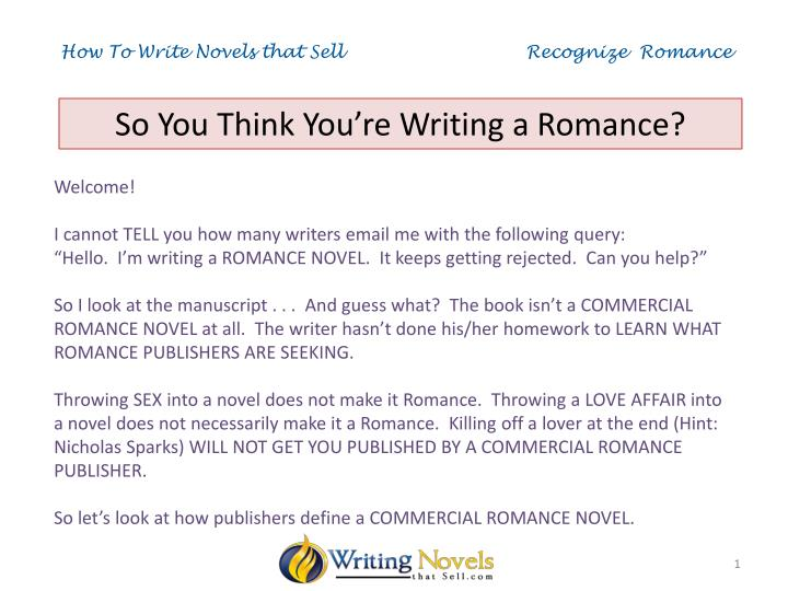 how to write novels that sell recognize romance n.