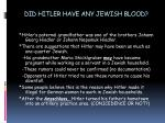 did hitler have any jewish blood