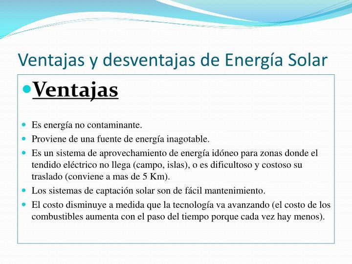 Ventajas y desventajas de Energía Solar