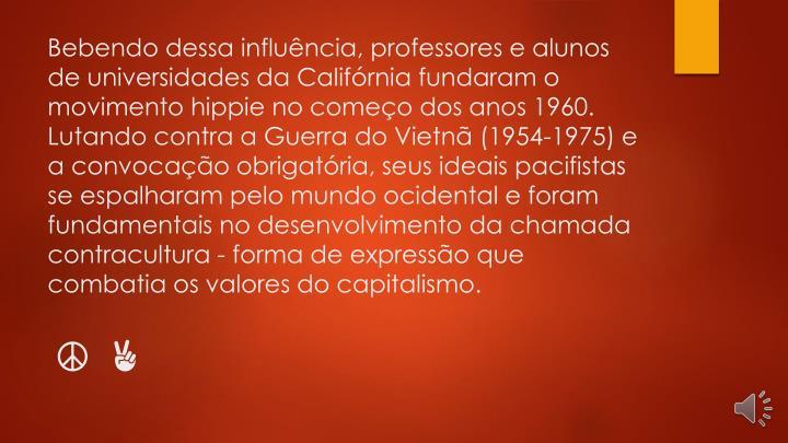 Bebendo dessa influência, professores e alunos de universidades da Califórnia fundaram o movimento hippie no começo dos anos 1960. Lutando contra a Guerra do Vietnã (1954-1975) e a convocação obrigatória, seus ideais pacifistas se espalharam pelo mundo ocidental e foram fundamentais no desenvolvimento da chamada contracultura - forma de expressão que combatia os valores do capitalismo.