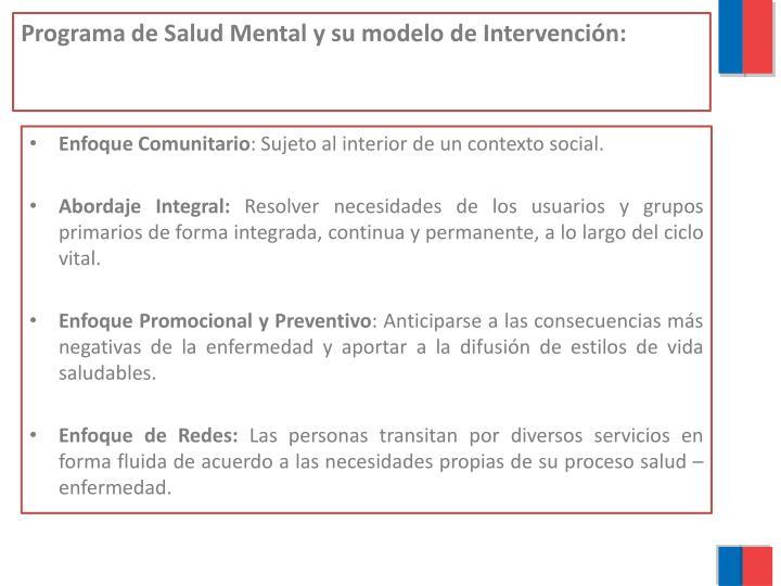 Programa de salud mental y su modelo de intervenci n