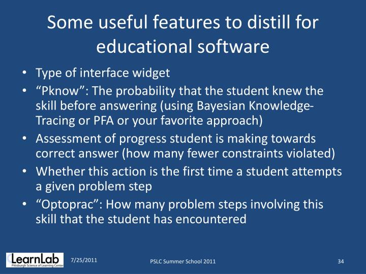 Some useful features to distill for educational software