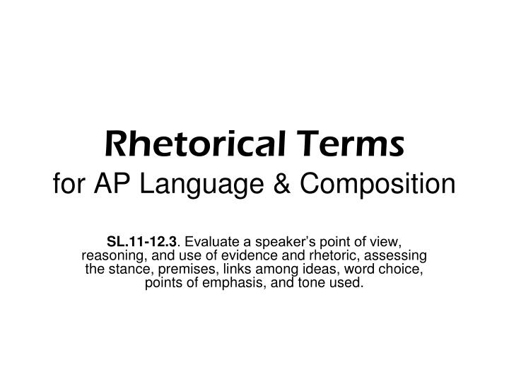 Rhetorical terms for ap language composition