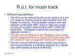 r o i for muon track