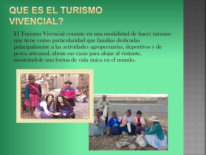 Que es el turismo vivencial