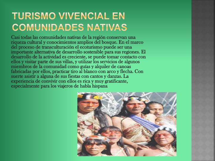 Turismo vivencial en comunidades nativas