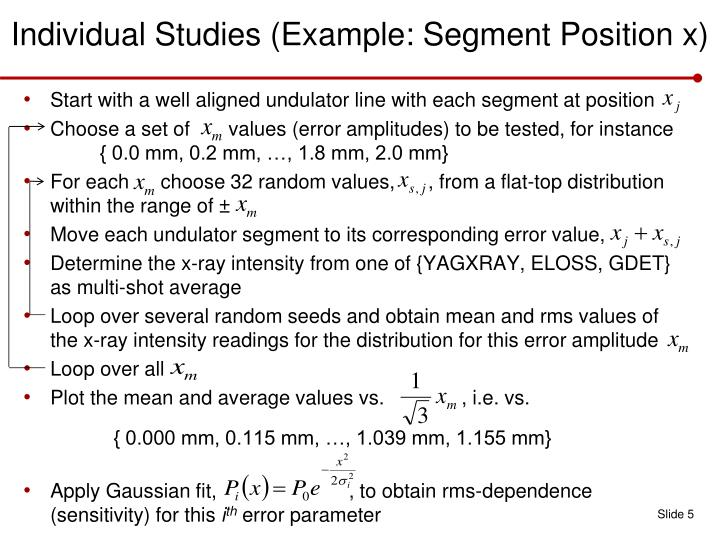 Individual Studies (Example: Segment Position x)