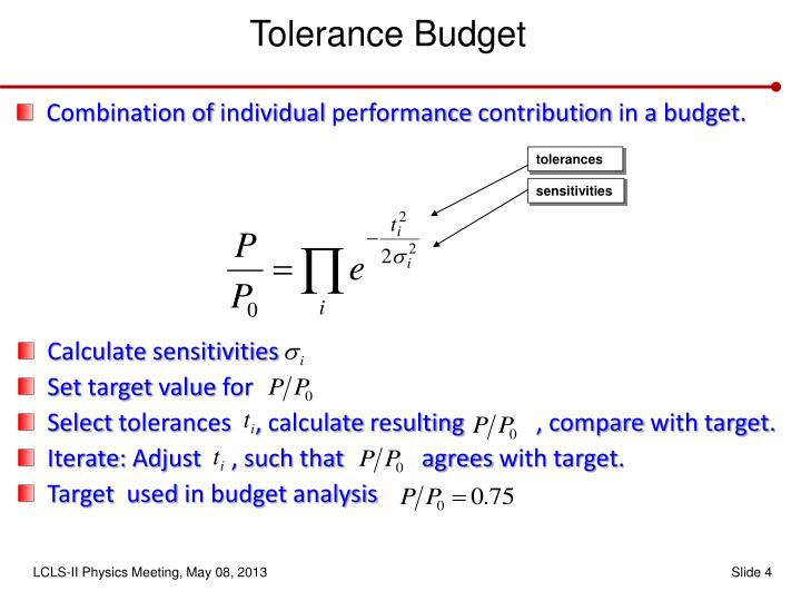 Tolerance Budget