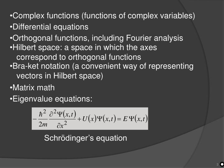 Complex functions (functions of complex variables)