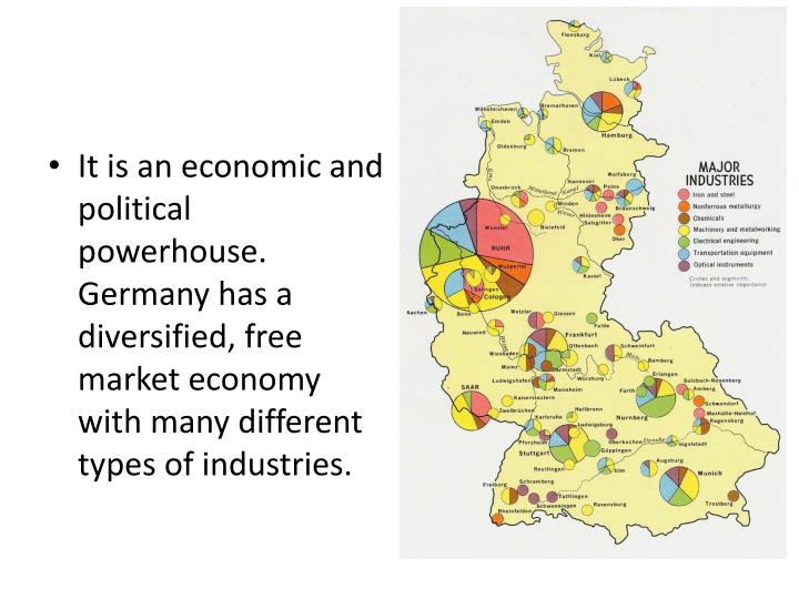 It is an economic and political powerhouse.  Germany has a diversified, free market economy with many different types of industries.